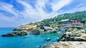 Haedong Yonggungsa Temple and Haeundae Sea in Busan, South Korea Royalty Free Stock Images