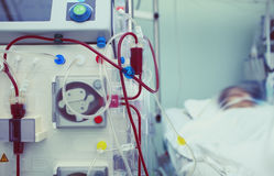 Haemodialysis machinery in work process