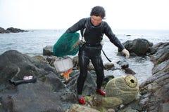 Haenyeo Vrouwelijke duiker Stock Afbeeldingen