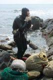 Haenyeo Vrouwelijke duiker Royalty-vrije Stock Foto's