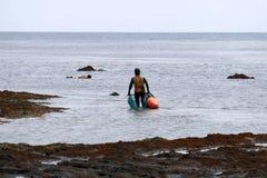 Haenyo-Taucher, der Schalentiere, Jeju-Insel, Südkorea erntet lizenzfreie stockfotos