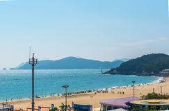 Haeundae海滩海是釜山` s最普遍在韩国 图库摄影