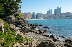 HaeUnDae海滩在釜山在韩国 免版税库存图片