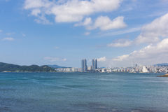 HaeUnDae海滩在釜山在韩国 图库摄影