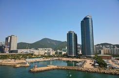 Haeundae Beach  area. Busan South Korea industrial harbor Stock Images