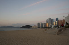 Haeundae beach at dawn, busan korea Royalty Free Stock Photography