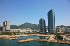 Haeundae strandområde busan hamn södra industriella korea Arkivbilder