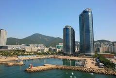 Haeundae strandområde busan hamn södra industriella korea Royaltyfri Bild