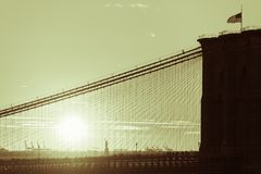 Haf-flag in Brooklyn bridge America with state of liberty in New Royalty Free Stock Photos