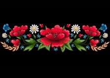 Hafciarscy ściegi z kwiatami Wektorowa moda haftował ornament dla tkaniny, tkaniny dekoracja Obraz Stock