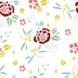 Hafciarscy ściegi Z różami, Łąkowi kwiaty, Dragonflies, ścigi Wektorowej mody Bezszwowy wzór Dla tkaniny, tkanina obrazy royalty free