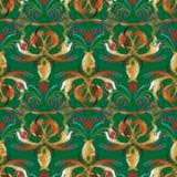 Hafciarski barokowy wektorowy bezszwowy wzór Zielony kwiecisty backgro ilustracji