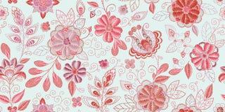 Hafciarski bezszwowy wzór z pięknymi kwiatami Wektorowy handmade kwiecisty ornament Broderia dla moda produktów royalty ilustracja