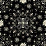Hafciarski bezszwowy wz?r z pi?knymi kwiatami Wektorowy handmade kwiecisty ornament na ciemnym tle Broderia dla royalty ilustracja