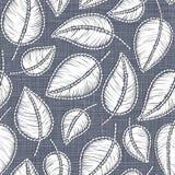 Hafciarski kwiecisty bezszwowy wzór na bieliźnianego płótna teksturze dla tkaniny, domowy wystrój, moda, tkanina ścieg imitacja ilustracji