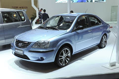 Hafei sedan electric car. Chinese brand:Hafei SAIBAO family electric car,made by Hafei Auto Corporation in its exhibition hall,in 2010 international Auto-show Royalty Free Stock Photos