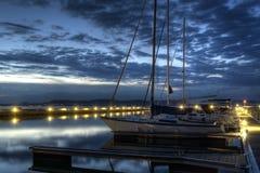 Hafen am Abend Stockfotografie