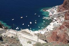 Hafen auf Santorini Stockfotos