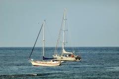 Hafen in beliebtem Erholungsort Los Cristianos in Teneriffa, Kanarische Inseln, Spanien stockbilder