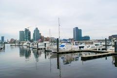 Hafen-Bereich fällt herein Punkt in Baltimore, Maryland stockbilder