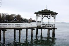 Hafen-Brücke auf dem See Bregenz Österreich Lizenzfreies Stockbild