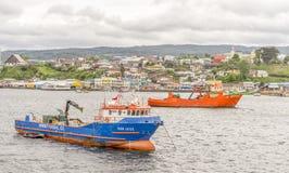 Hafen in Castro, Chile Stockfotografie