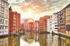 Hafen City in Hamburg Speicherstadt. Street view of Hamburg, Germany Stock Images
