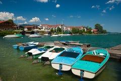Hafen in dem See Tegernsee nahe Rottach-Egern Lizenzfreies Stockbild