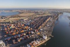 Hafen der Los Angeles-Nachmittags-Vogelperspektive Stockfotos
