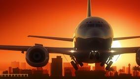 Hafen Elizabeth South Africa Airplane Take weg vom Skyline-goldenen Hintergrund stock abbildung