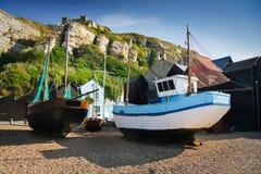 Hafen in Hastings, Großbritannien Stockfotografie