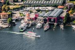 Hafen im See Como Stockfotografie