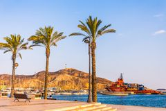 Hafen-Jachthafensonnenuntergang Cartagenas Murcia in Mittelmeer-Spanien lizenzfreies stockbild