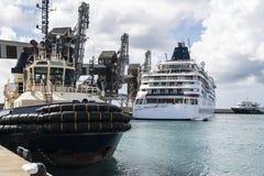 Hafen mit alten Kränen und Kreuzfahrtschiff Lizenzfreies Stockbild