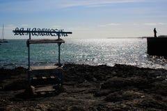 Hafen mit Fischstall Stockbild
