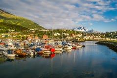 Hafen in Norwegen Stockbild
