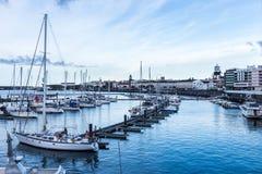 Hafen Ponta Delgada, S Miguel, Azoren Stockbilder