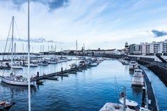 Hafen Ponta Delgada, S Miguel, Azoren Stockfotografie