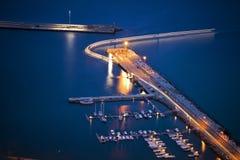 Hafen Porto-Santo bis zum Nacht Lizenzfreies Stockfoto