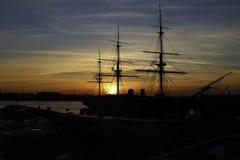 Hafen-Sonnenuntergang Stockfotos