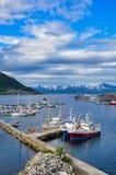Hafen und Bucht Tromso im Juli Stockfoto