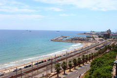 Hafen und Eisenbahn Tarragona stockbild
