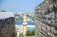 Hafen und Moschee in Bodrum, die Türkei Lizenzfreie Stockfotos
