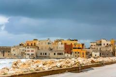 Hafen und Ufergegend in Trapani, Sizilien Stockbild