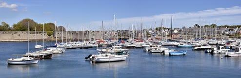 Hafen von Concarneau in Frankreich Stockbild