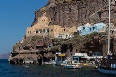 Hafen von Fira, Santorini, Thira, die Kykladen-Inseln Stockfoto