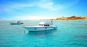 Hafen von Fischerbooten in Hurghada Stockfoto