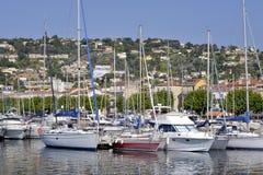 Hafen von Golfe-Juan in Frankreich Stockfotos