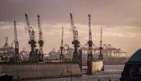 Hafen von Hamburg mit Kränen lizenzfreie stockfotos