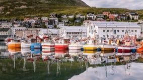 Hafen von Honningsvag in Finnmark Norwegen Stockbilder